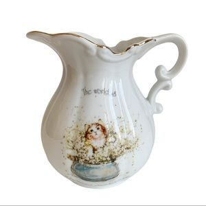 """VINTAGE HOLLY HOBBIE CERAMIC PITCHER  6 """" TALL BY 6 1/2"""" WIDE MARKED H. HOBBIE"""